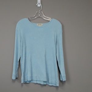 Eddie Bauer blue ribbed long sleeve top size M